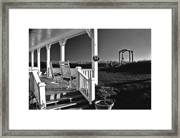 Addy Sea Front Porch Framed Print