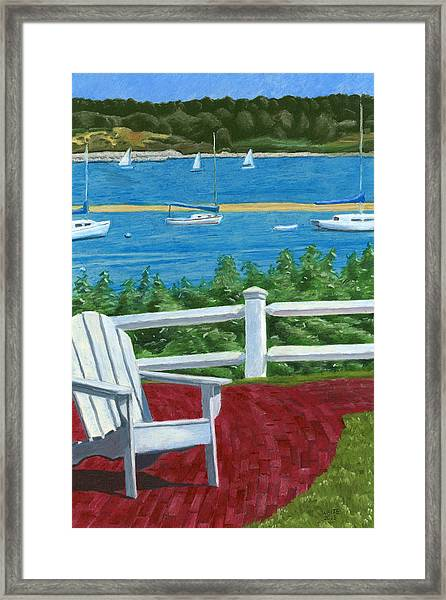 Framed Print featuring the drawing Adirondack Chair On Cape Cod by Dominic White