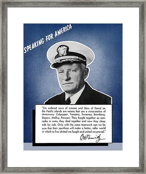 Admiral Nimitz Speaking For America Framed Print