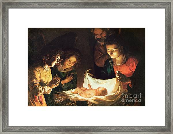 Adoration Of The Baby Framed Print