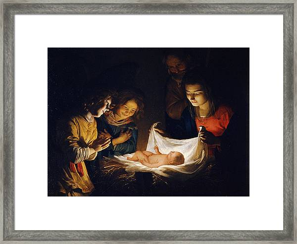 Framed Print featuring the painting Adoration Of The Child by Gerrit van Honthorst
