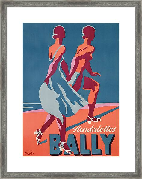 Advertisement For Bally Sandals Framed Print