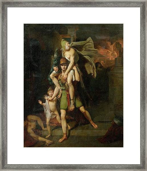 Aeneas Fleeing With His Father Framed Print