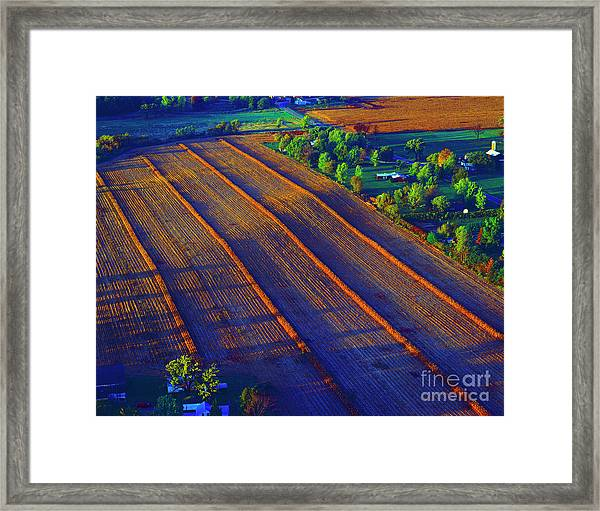Aerial Farm Field Harvested At Sunset Framed Print