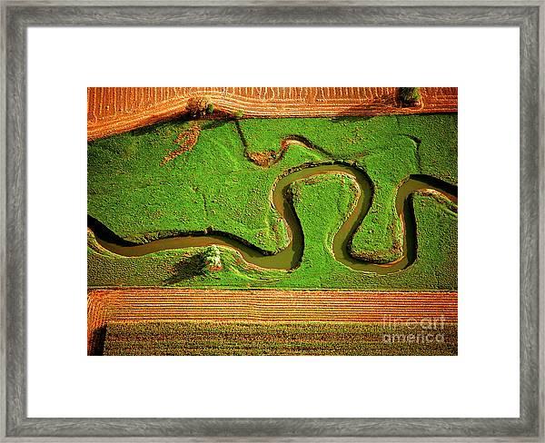 aerial, farm, stream, northern, Illinois, farms, meandering  Framed Print