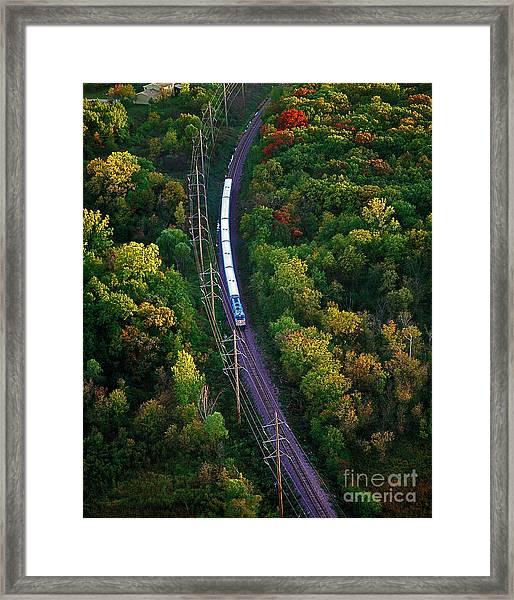 Aerial Of  Commuter Train  Framed Print