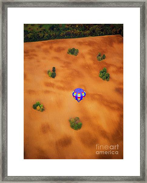 Aerial Of Hot Air Balloon Above Tilled Field Fall Framed Print
