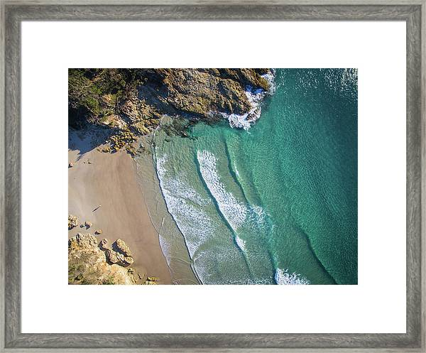 Aerial Shot Of Honeymoon Bay On Moreton Island Framed Print