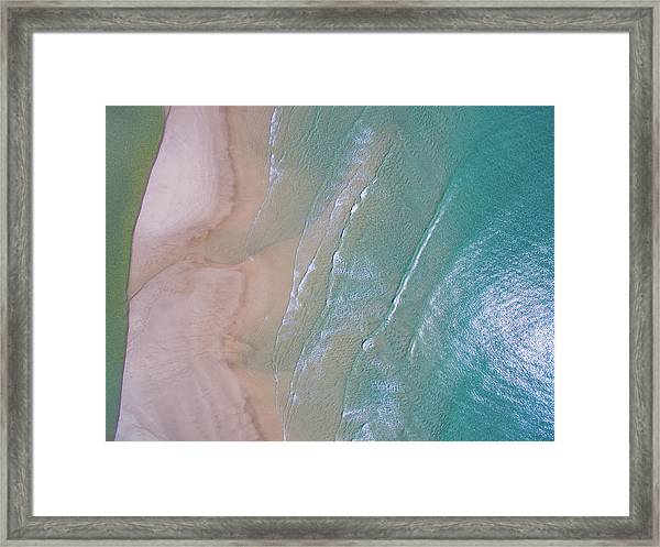 Aerial View Of Beach And Wave Patterns Framed Print