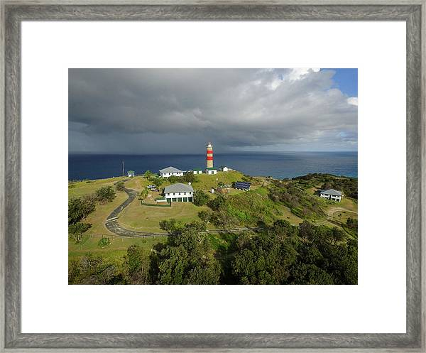 Aerial View Of Cape Moreton Lighthouse Precinct Framed Print