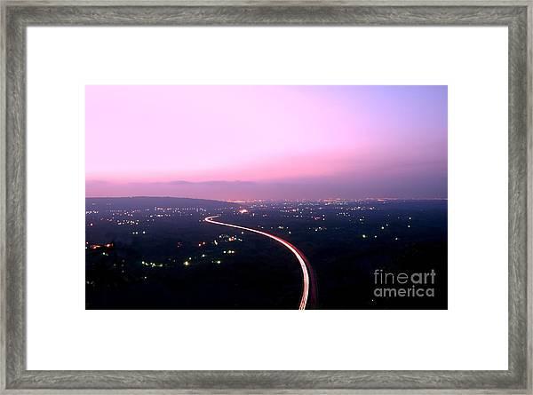 Aerial View Of Highway At Dusk Framed Print