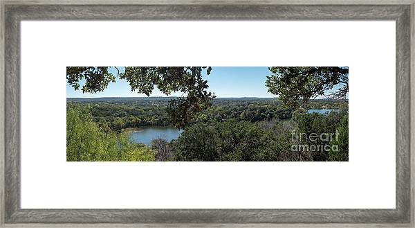 Aerial View Of Large Forest And Lake Framed Print