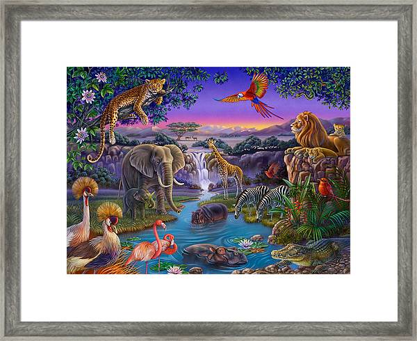 African Animals At The Water Hole Framed Print