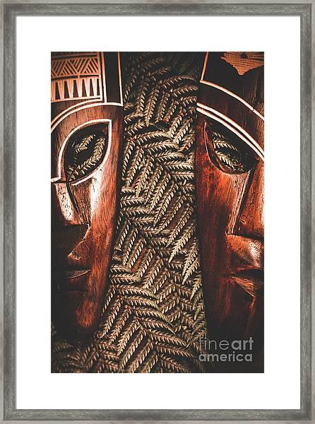 African Couple Masks Framed Print