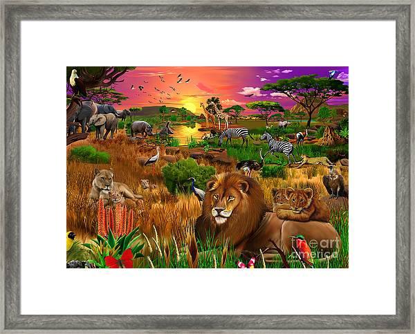 African Evening Framed Print