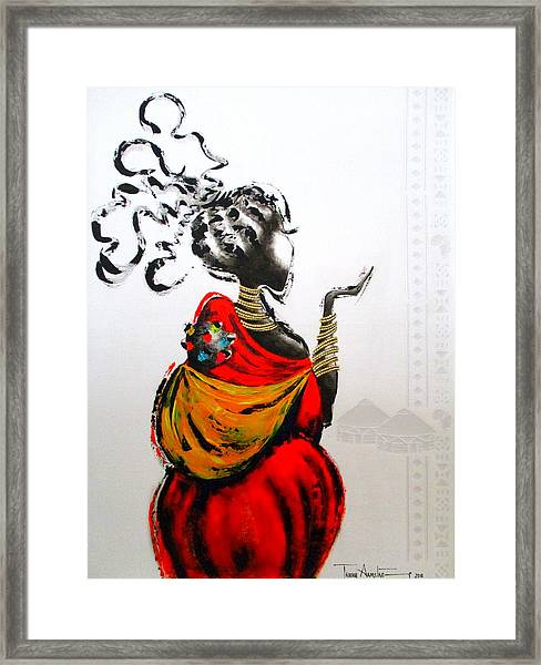 African Lady And Baby Framed Print