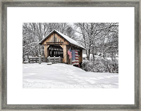After A Winter Snow Storm Cilleyville Covered Bridge  Framed Print