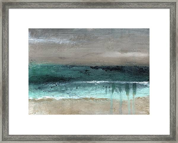 After The Storm 2- Abstract Beach Landscape By Linda Woods Framed Print