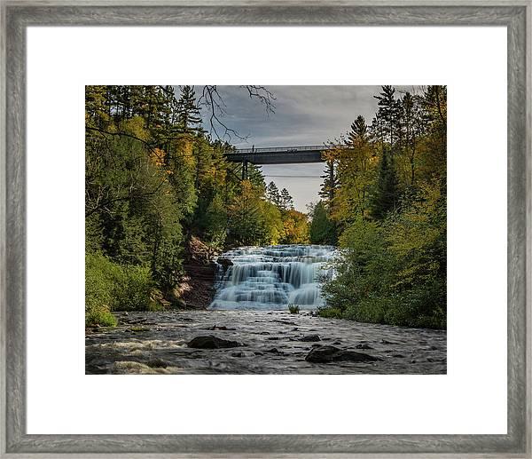 Agate Falls With Railroad Bridge Framed Print
