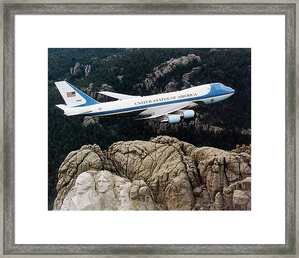 Air Force One Flying Over Mount Rushmore Framed Print