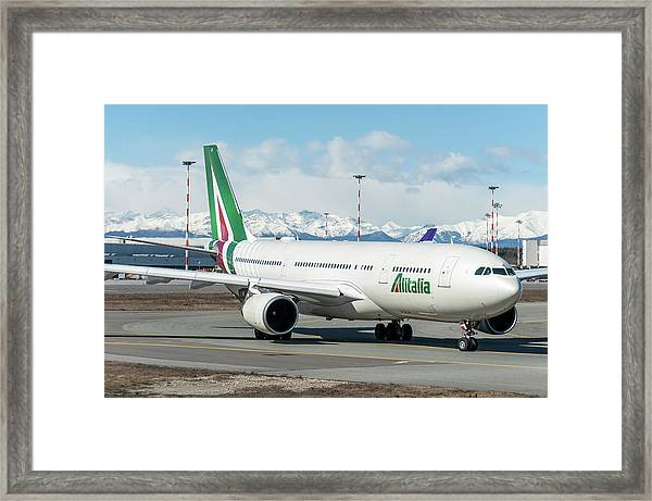 Airbus A330 Alitalia With New Livery  Framed Print