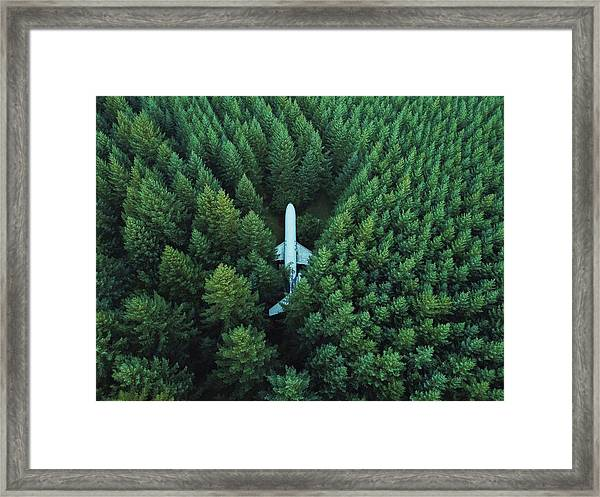 Framed Print featuring the photograph Airplane In Forest by David Kovalenko