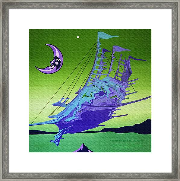 Airship Under A Smiling Moon  Framed Print