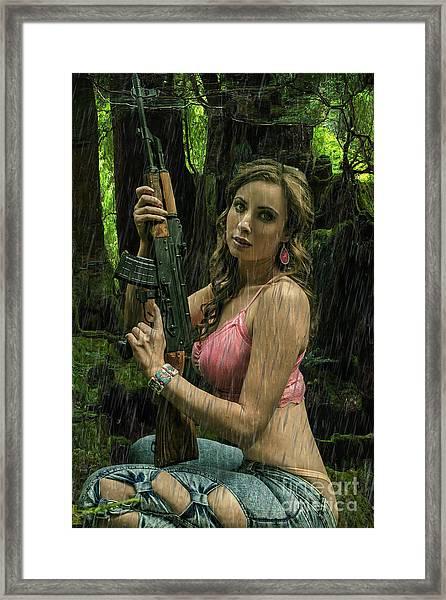 Ak47 In The Rain Framed Print