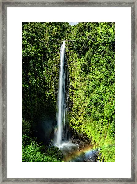 Akaka Falls With Rainbow Framed Print
