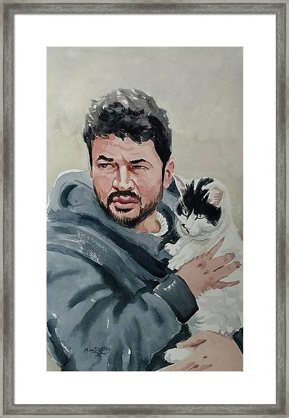 Alaa With Zorro Framed Print