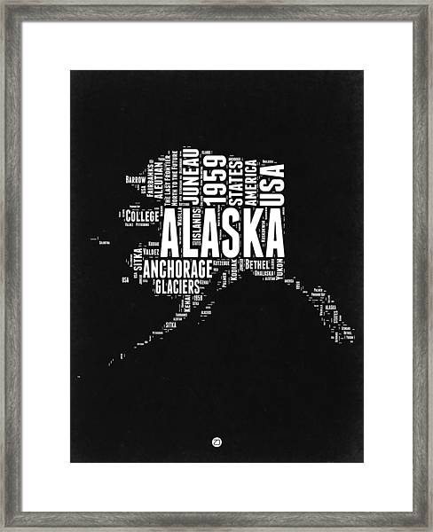 Alaska Black And White Map Framed Print