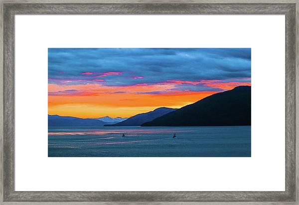 Alaska Fishermans Sunset Framed Print