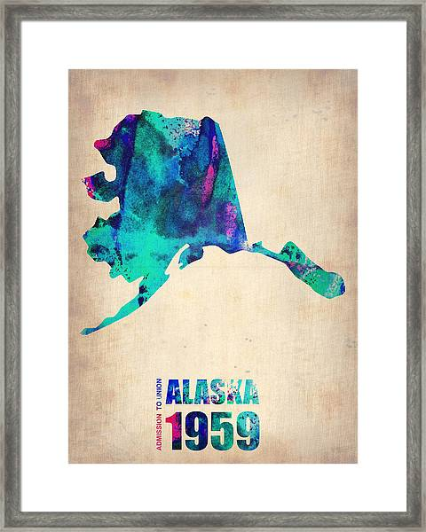 Alaska Watercolor Map Framed Print