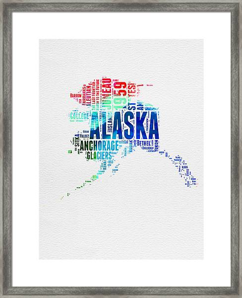 Alaska Watercolor Word Cloud  Framed Print