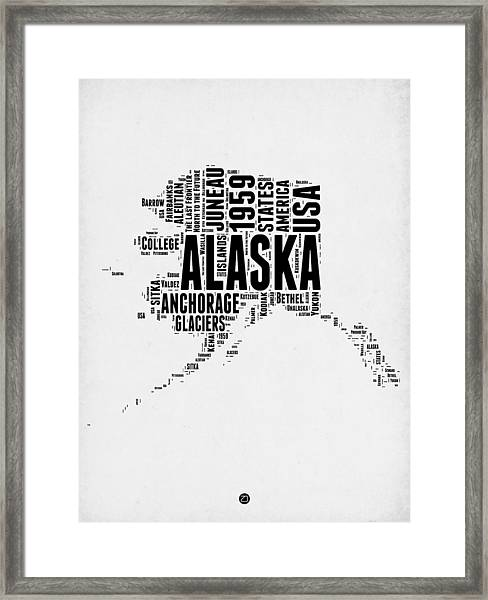Alaska Word Cloud 2 Framed Print