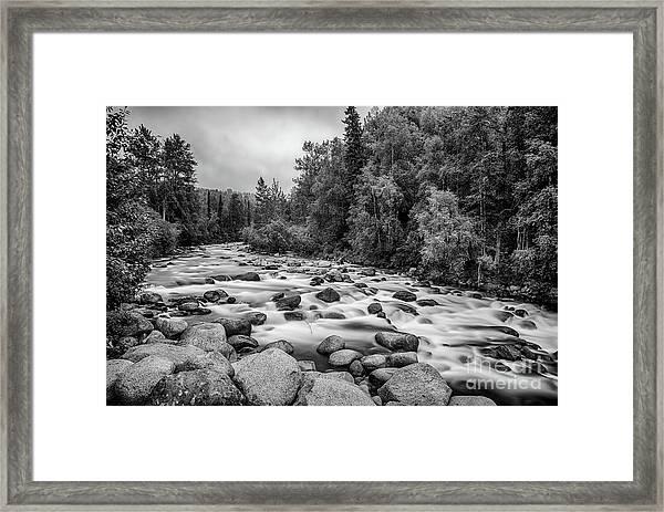 Alaskan Stream In Black And White Framed Print