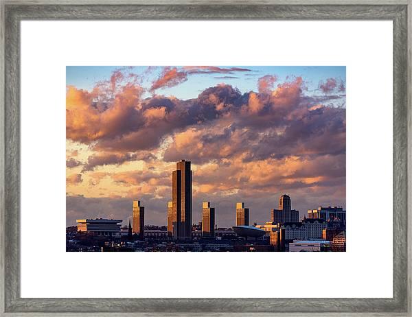 Albany Sunset Skyline Framed Print