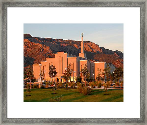 Albuquerque Lds Temple At Sunset 1 Framed Print