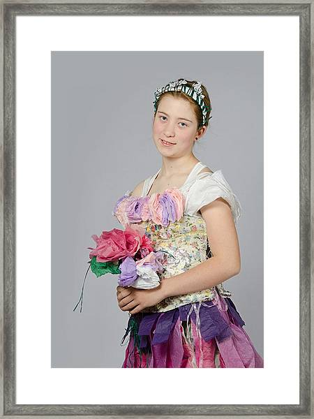 Alegra In Paper Floral Dress Framed Print