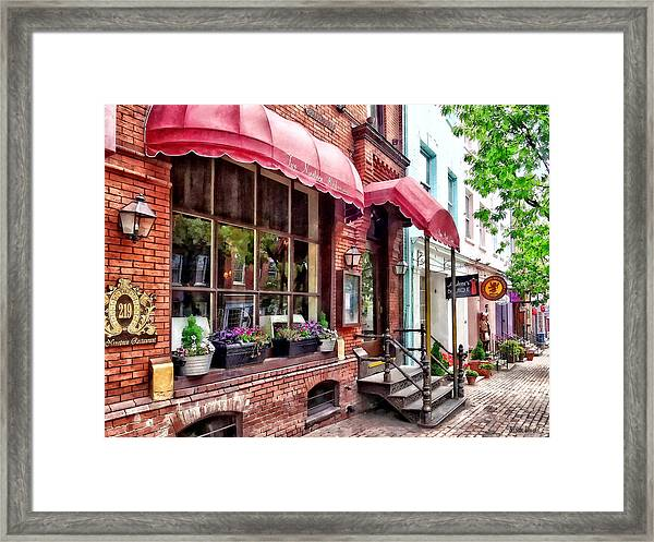 Alexandria Va - Red Awnings On King Street Framed Print