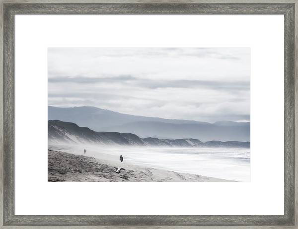 Alfred Hitchcock Goes To The Beach Framed Print
