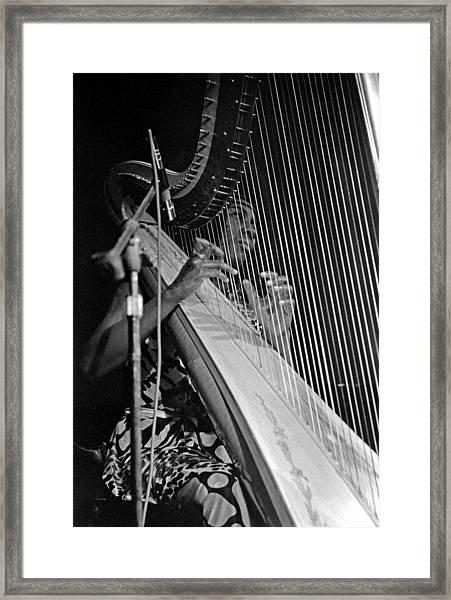 Alice Coltrane On Harp Framed Print