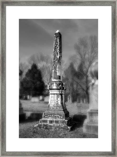 Alice Cooper Grave In Black And White Framed Print