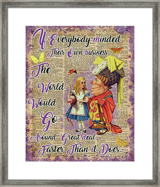 Alice With The Duchess Vintage Dictionary Art Framed Print