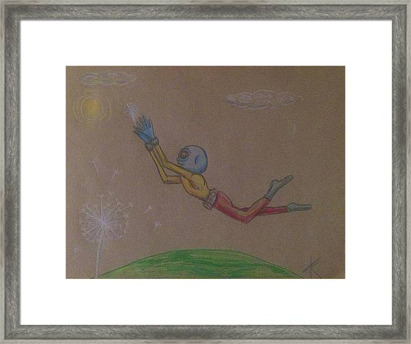 Alien Chasing His Dreams Framed Print