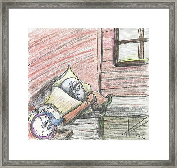 Alien Keeps Snoozin Framed Print