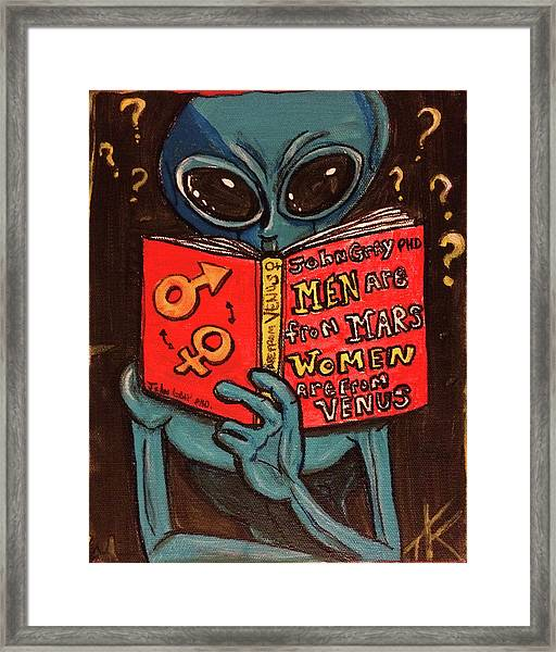 Alien Looking For Answers About Love Framed Print