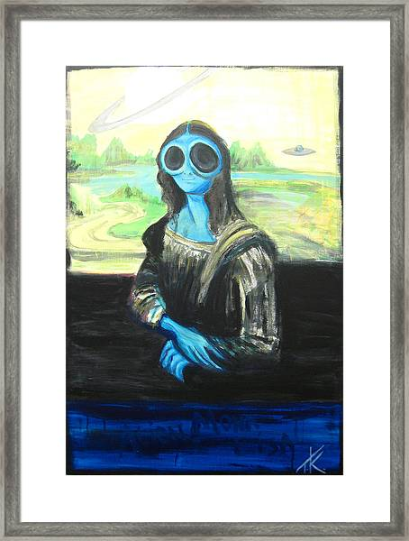 alien Mona Lisa Framed Print