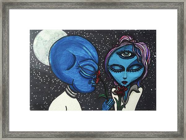 Aliens Love Flowers Framed Print