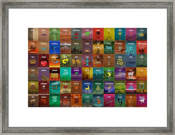 All 66 Books Of The Bible Old And New Testament Minimalist Graphic Design Framed Print